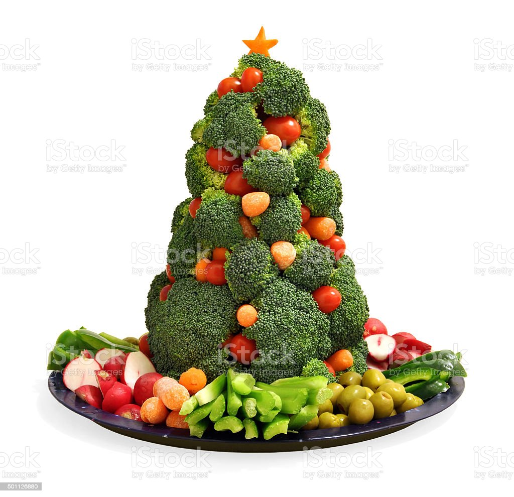 Homemade vegan holiday vegetable platter with broccoli Christmas tree stock photo