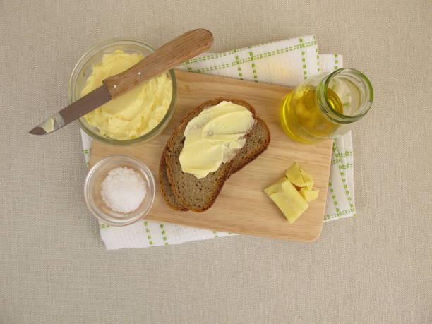 Homemade vegan margarine on bread stock photo