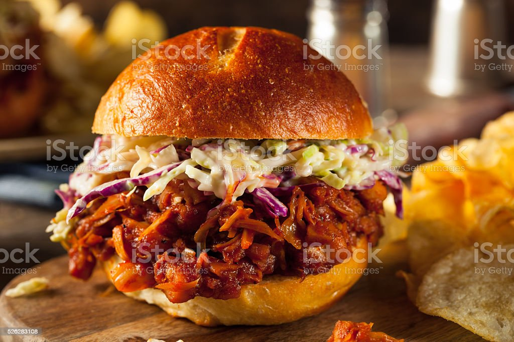 Homemade Vegan Pulled Jackfruit BBQ Sandwich stock photo