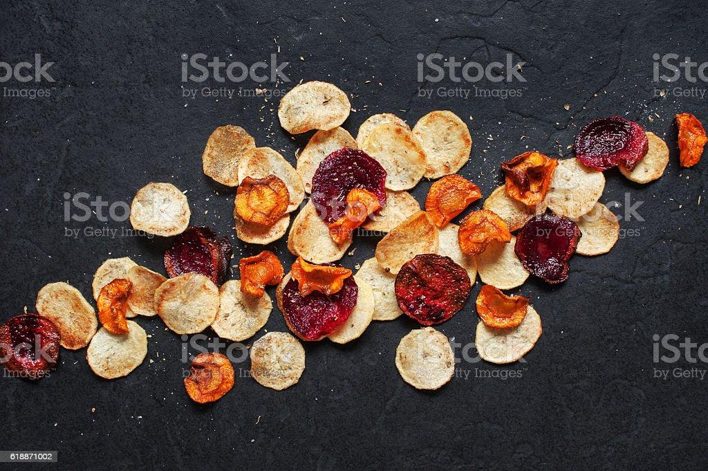 Homemade vegetable chips stock photo