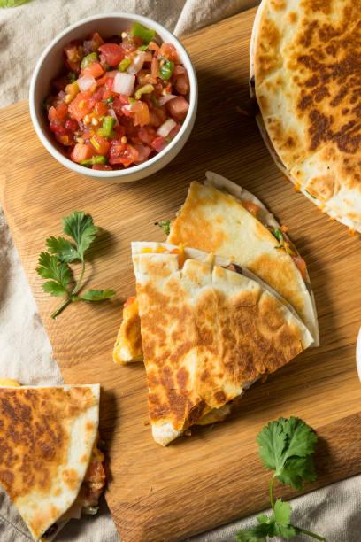 Homemade Vegetarian Quesadilla with Cheese stock photo