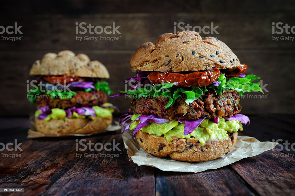 Homemade veggie burger stock photo
