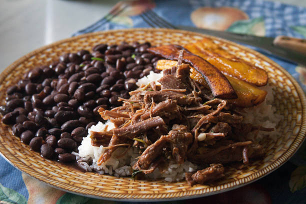 comida casera venezolana. pabellón criollo. arroz blanco, frijoles negros, plátanos fritos y carne desmenuzada - maracaibo fotografías e imágenes de stock