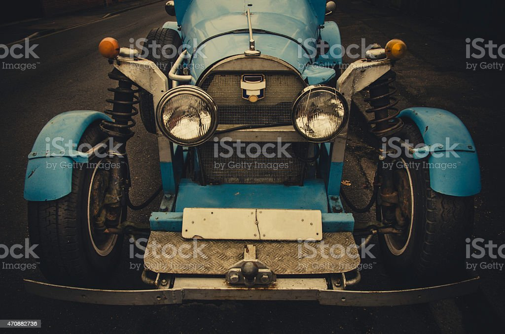 Homemade vintage race blue car in 20's style stock photo