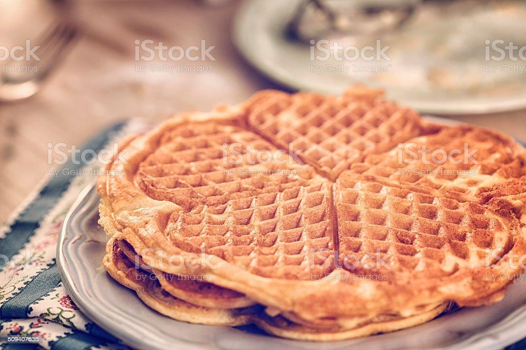Homemade Waffles Made in Waffle Iron stock photo