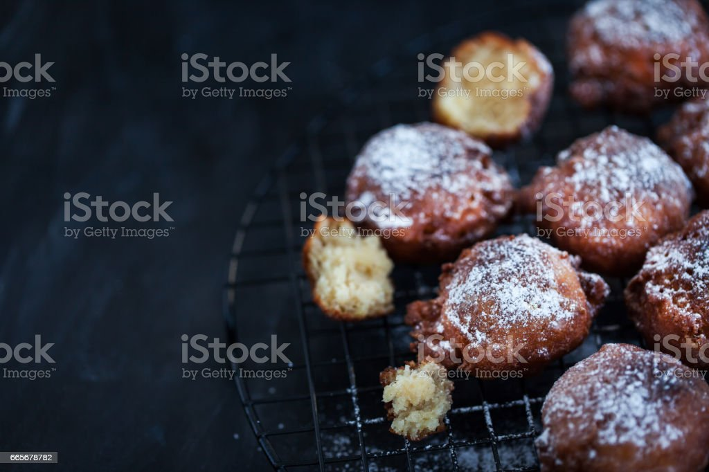 Homemade warm apple fritters stock photo