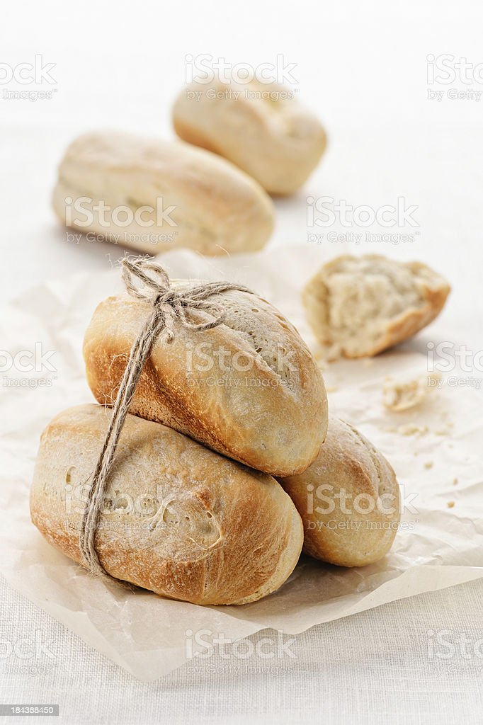 Homemade wheat mini baguettes royalty-free stock photo