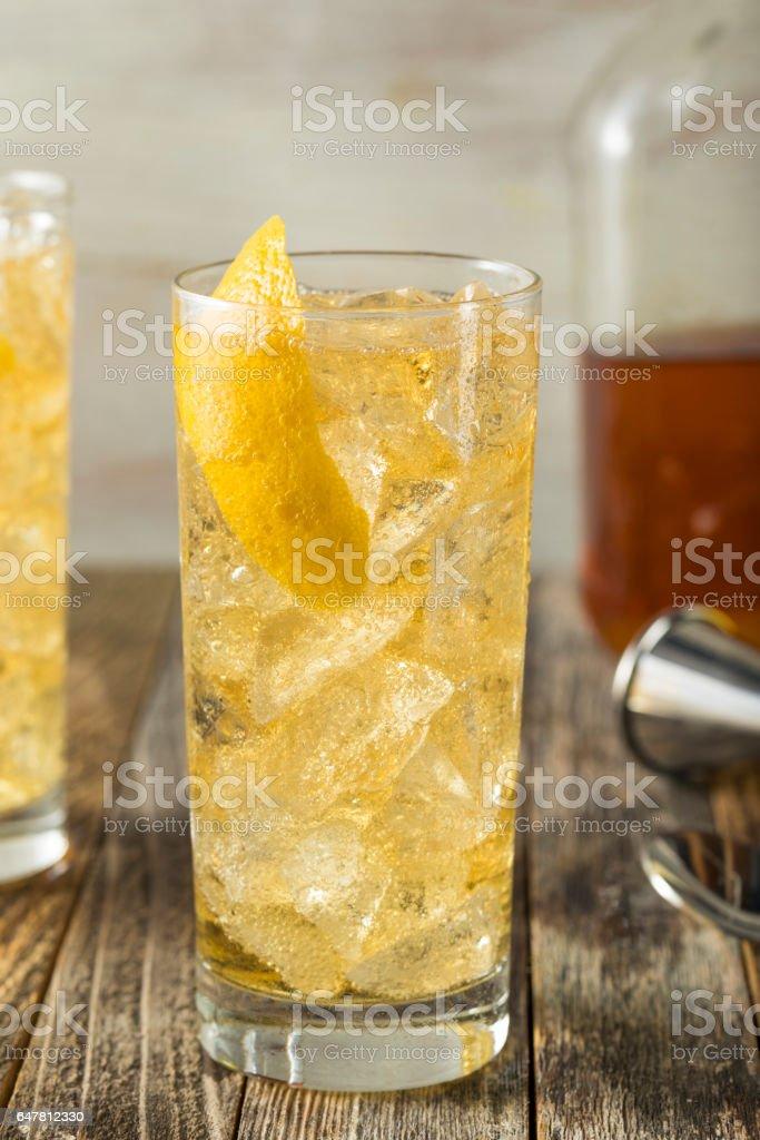 Homemade Whiskey Highball with Soda Water stock photo