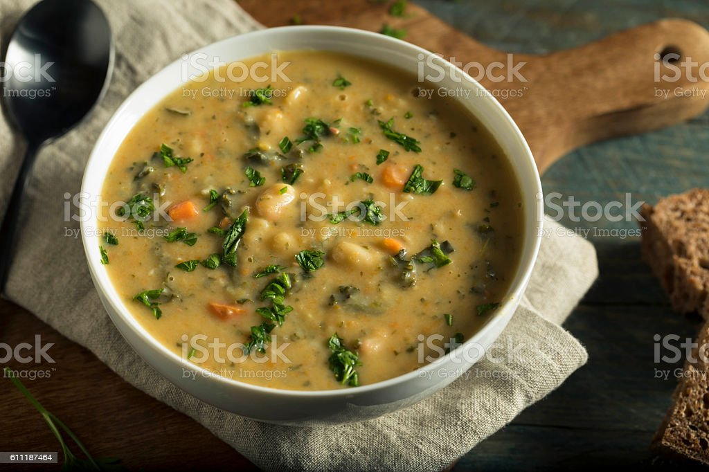 Homemade White Bean Soup stock photo