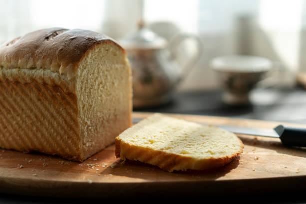 homemade white bread stock photo