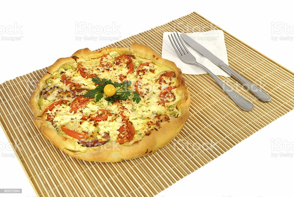 Homemade whole pizza on a mat royalty-free stock photo