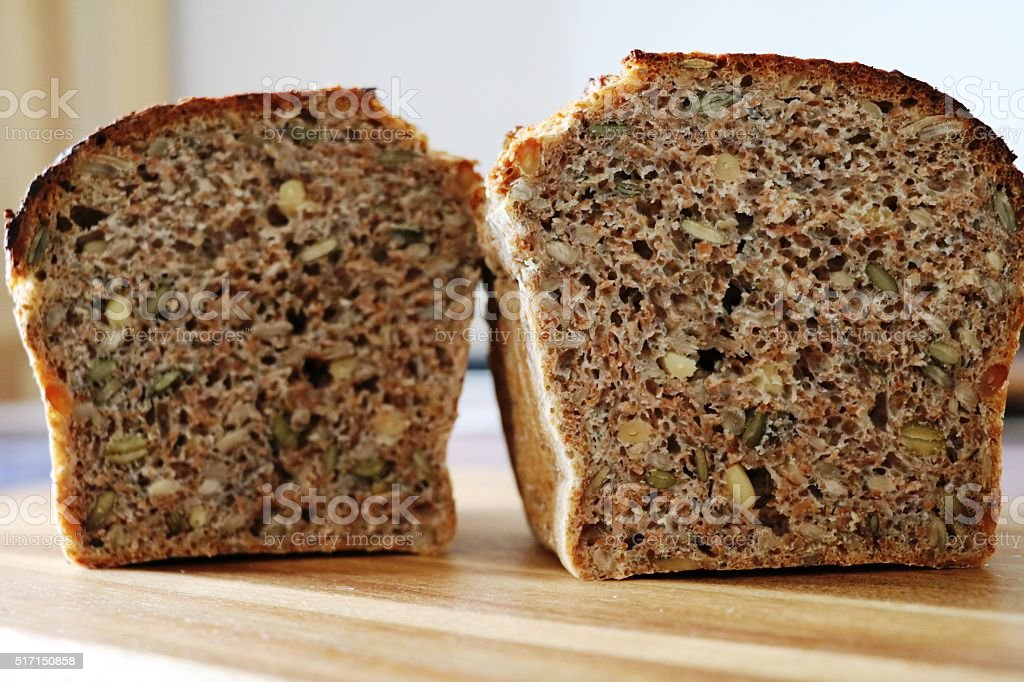 Homemade Wholemeal bread with sunflower seeds and pumpkin seeds stock photo