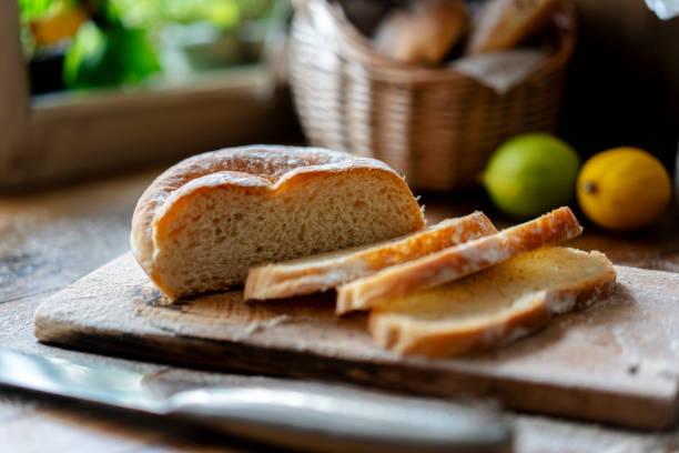homemade wholewheat bread stock photo