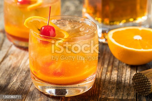 Homemade Wisconsin Brandy Old Fashioned Cocktail with Cherry and Orange