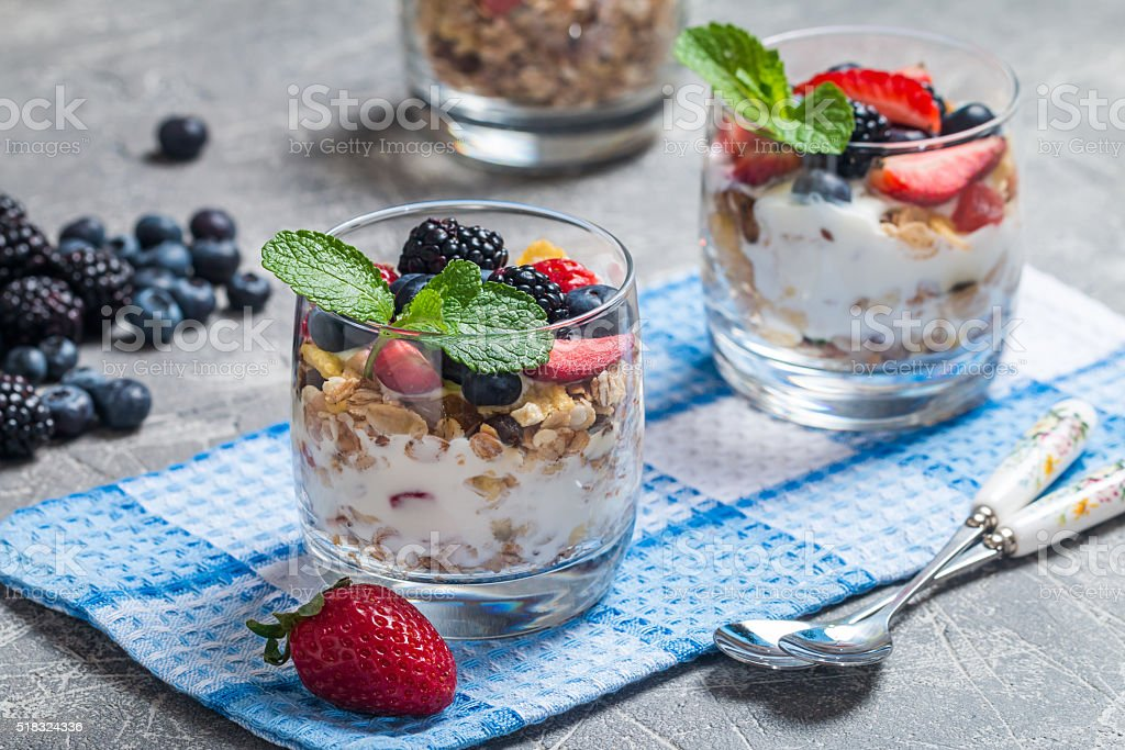 Homemade yogurt with baked granola stock photo