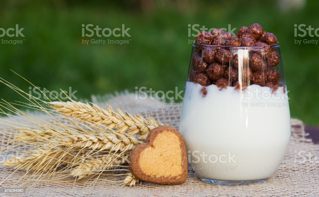 Homemade yogurt with chocolate balls and biscuits. Healthy food. Romantic breakfast. Cookies in the shape of hearts. Romantic concept stock photo