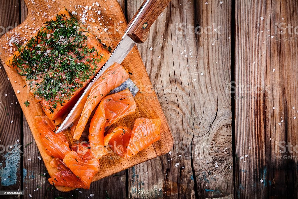 homemades gravlax with dill stock photo