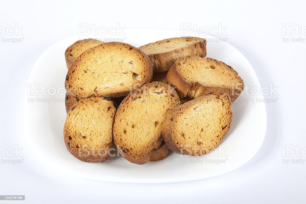 Home-maid rusk with raisins on plate stock photo