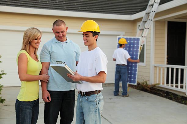 Homeowners Going Solar stock photo