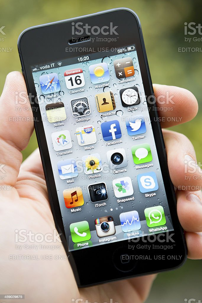 Homepage of an iPhone 5 royalty-free stock photo