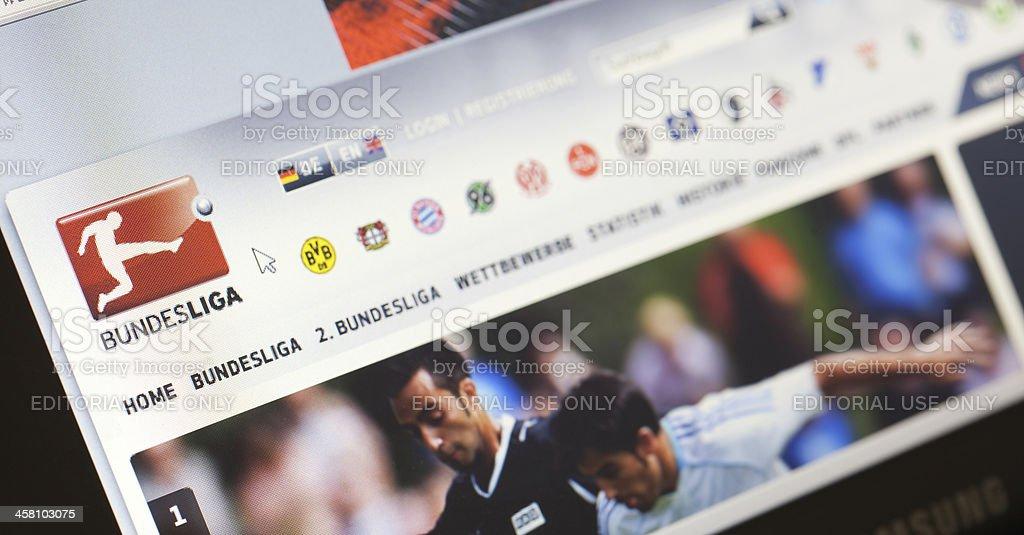 Homepage of German Bundesliga, the premier soccer league stock photo