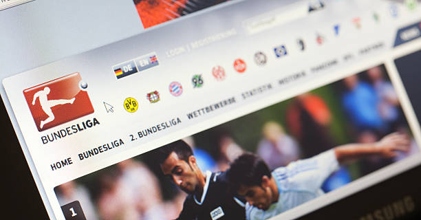 Homepage of German Bundesliga, the premier soccer league stock photo