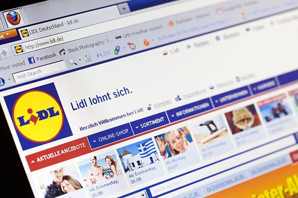 homepage del lidl tedesco della catena di vendita al dettaglio - lidl foto e immagini stock