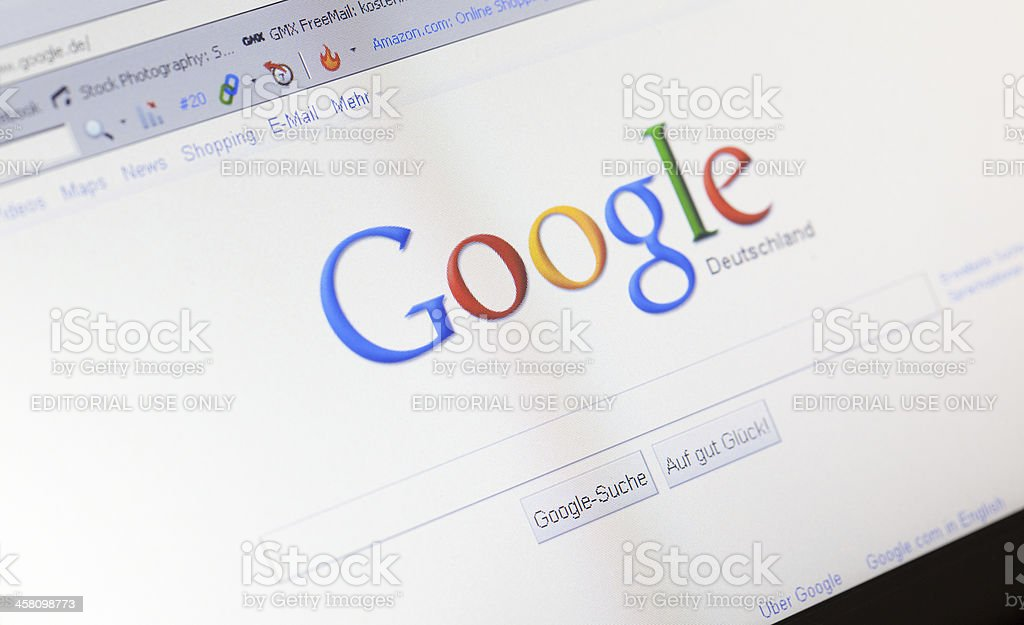 Homepage of Google in Germany royalty-free stock photo
