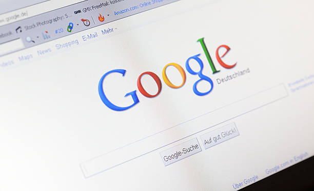 Homepage of Google in Germany stock photo