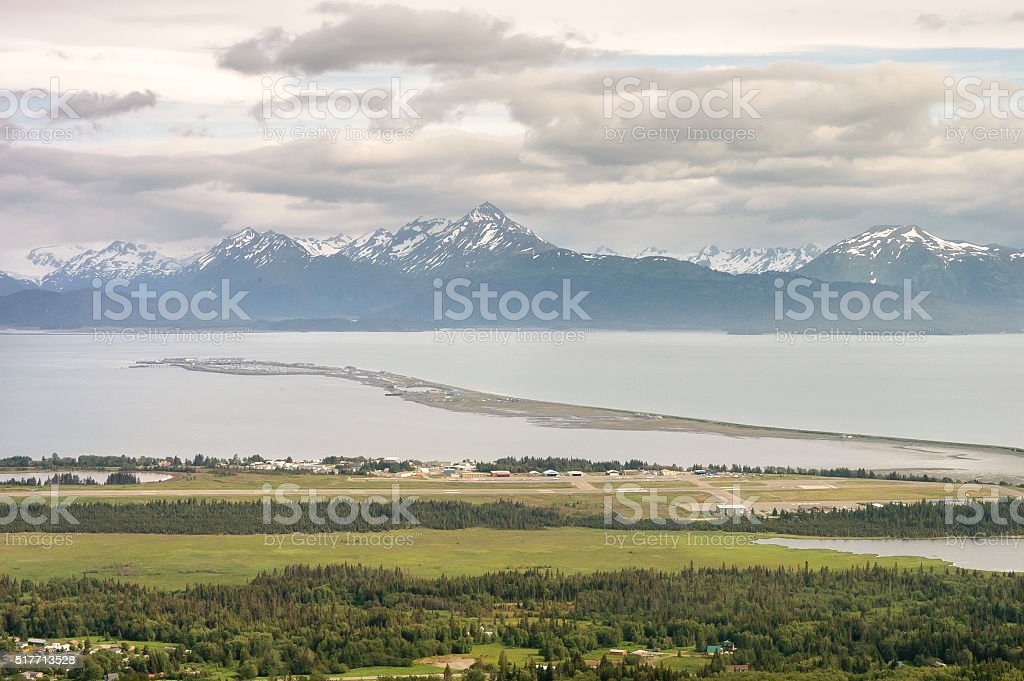Homer Alaska Spit in Summer with Snow Capped Mountains stock photo