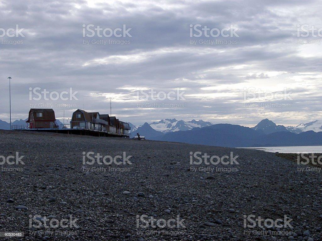 Homer, Alaska, USA beach view with mountains stock photo