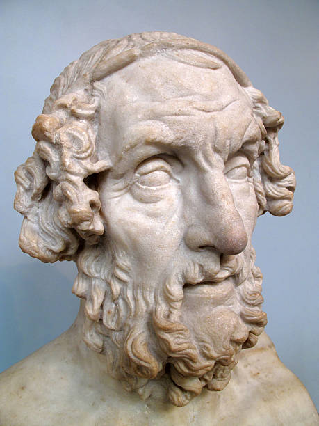 Homer Roman 2nd Century sculptured head of Homer the ancient Greek philosopher epic poet who was the author of The Iliad and The Odyssey who lived about 700BC greco roman style stock pictures, royalty-free photos & images