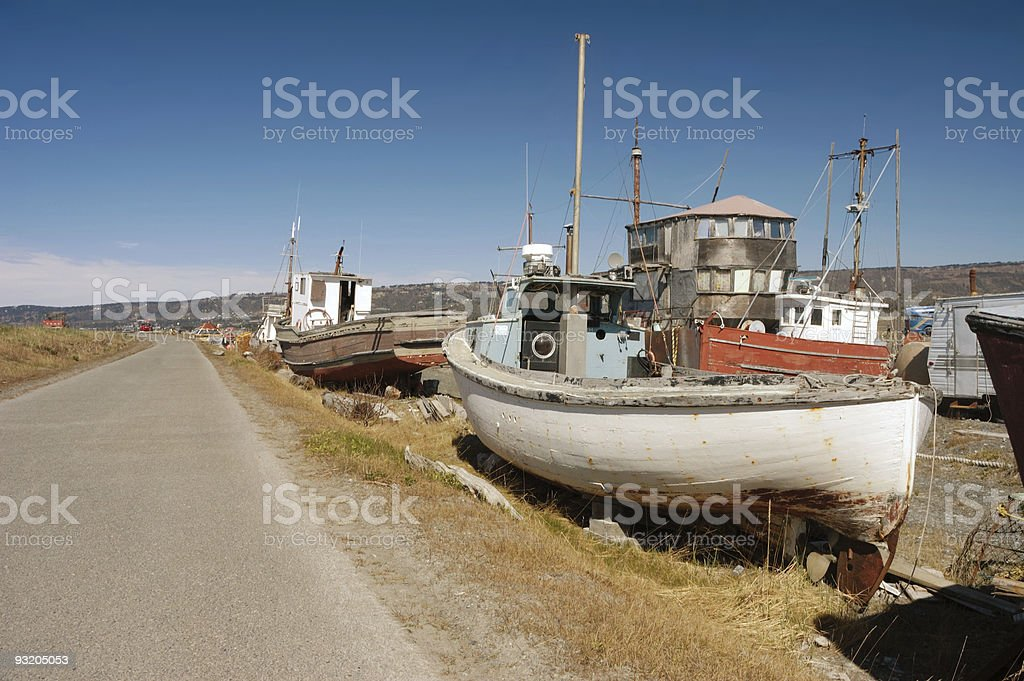 Homer Spit Boats stock photo
