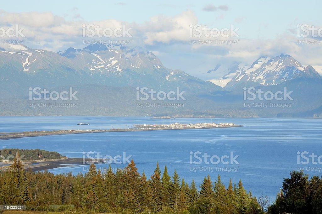 Homer Spit, on Kachemak Bay, Kenai Peninsula From Hilltop stock photo