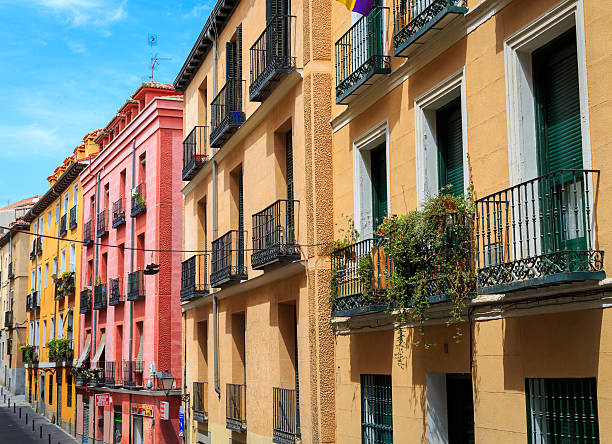 Homes and apartments on a street in Lavapies, Madrid, Spain stock photo