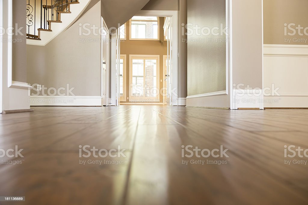 Homes and Architecture:  Lovely wooden flooring in home. stock photo
