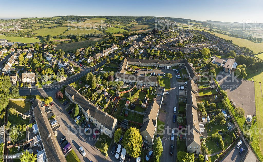 Homes and gardens suburban streets aerial photo stock photo