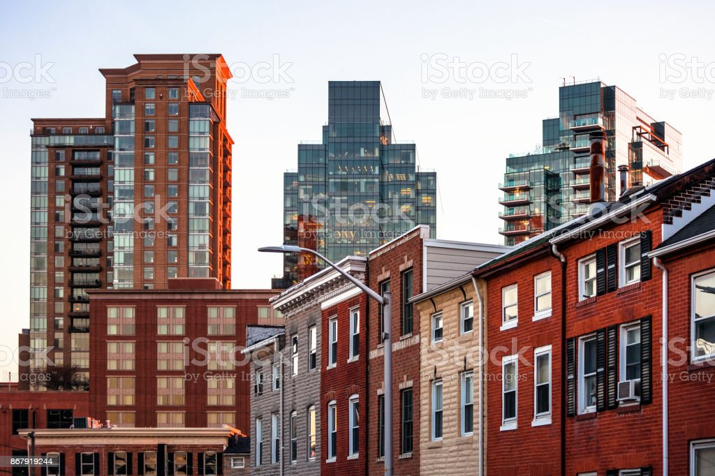 Homes and offices - Baltimore, MD stock photo
