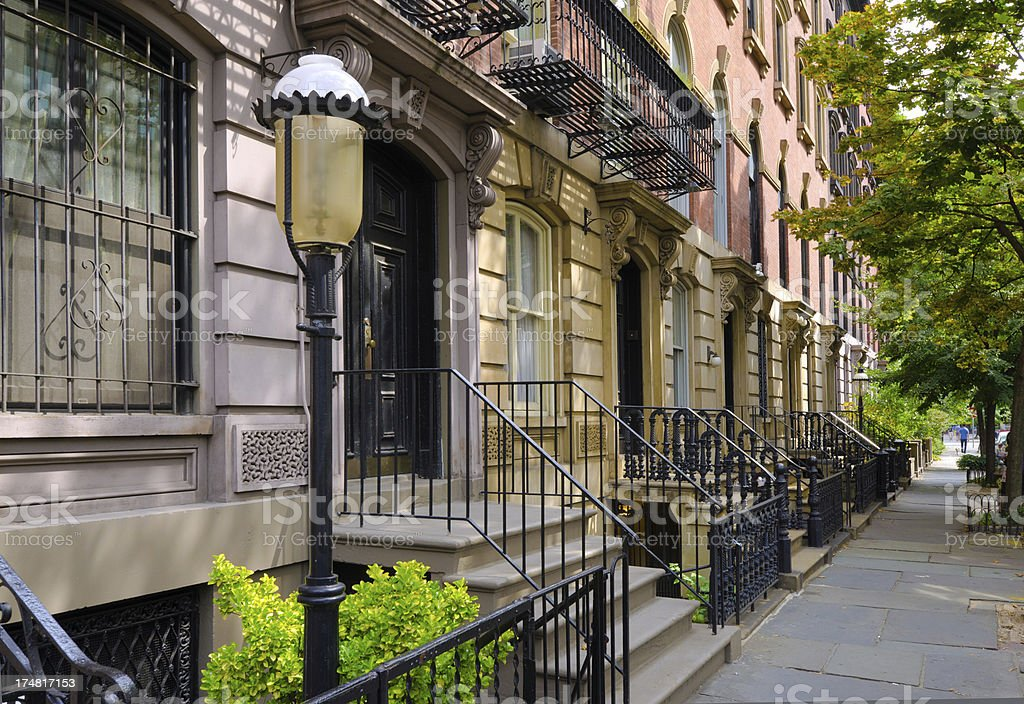 Homes and sidewalk at East Village in New York City stock photo