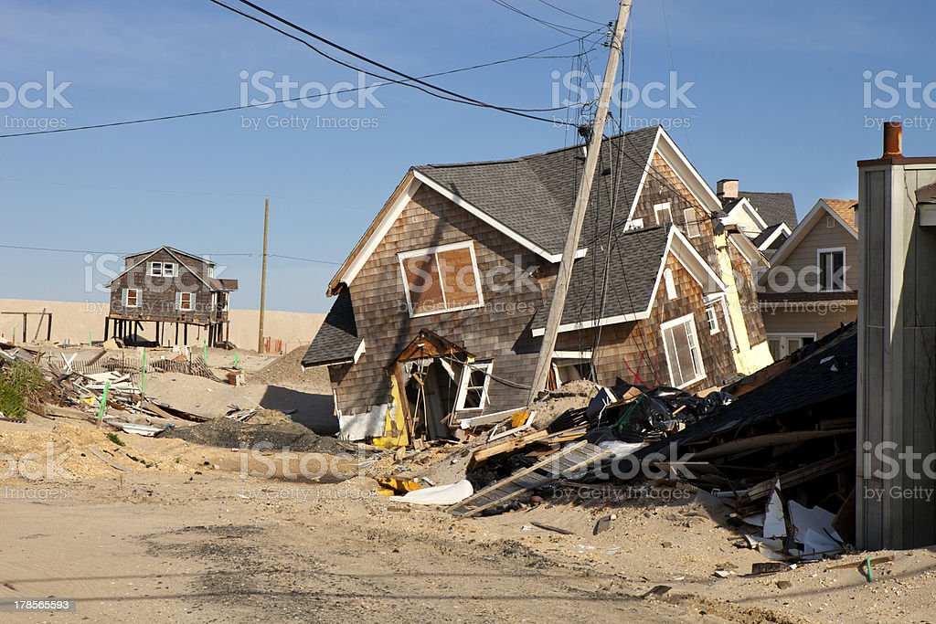 Homes damaged by a hurricane in Ortley Beach, New Jersey stock photo