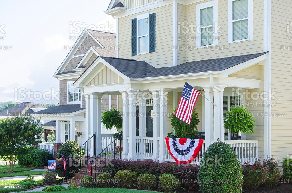 Homes Decorated for the Fourth of July stock photo