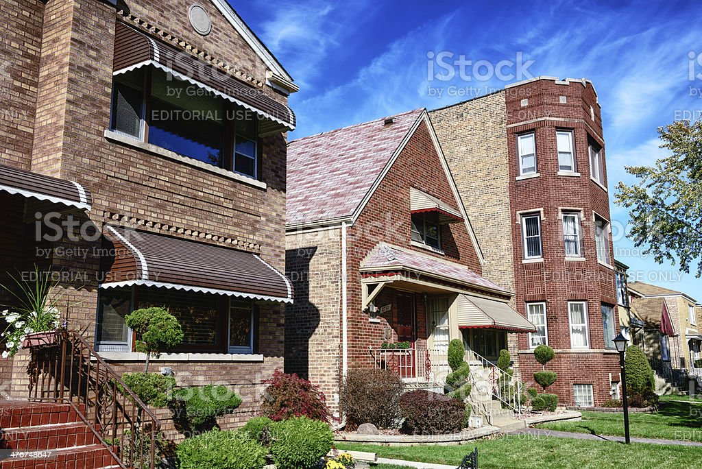 Homes in Calumet Heights, Chicago royalty-free stock photo