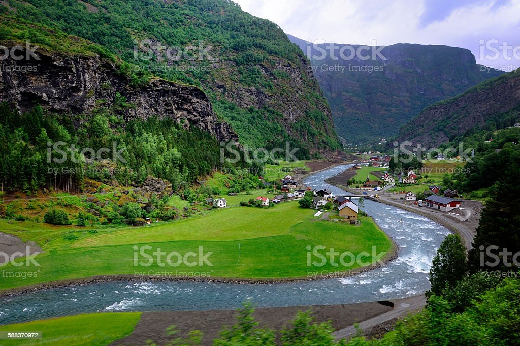 Homes in Flaam Fjord stock photo