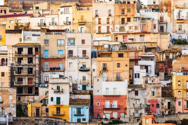 Homes in the coastal town of Sciacca. stock photo