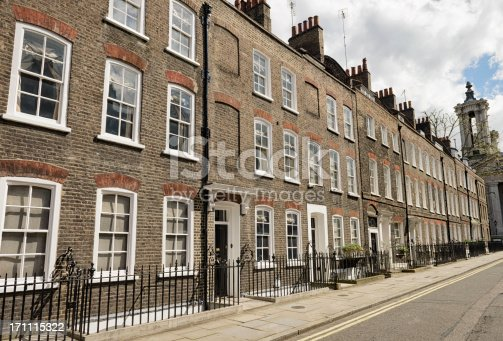 View along a residential street in Westminster, central London.