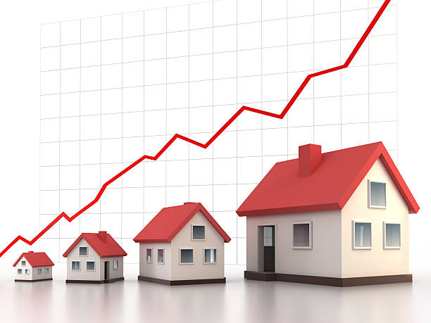 Homes increasing in value (Clipping path) stock photo