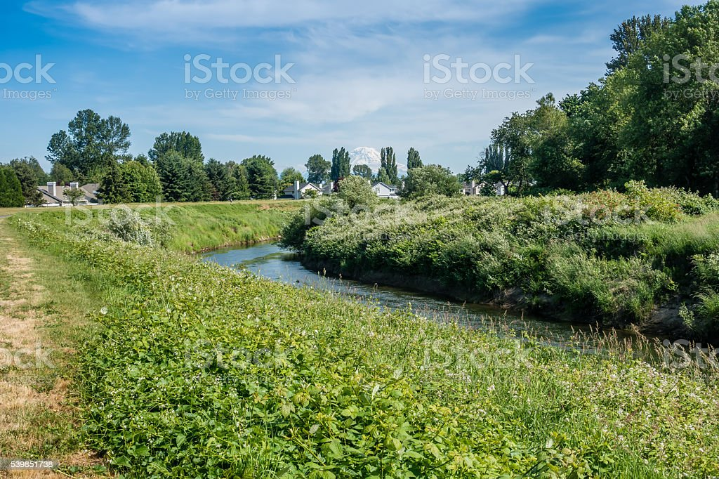 Homes On The Green River stock photo