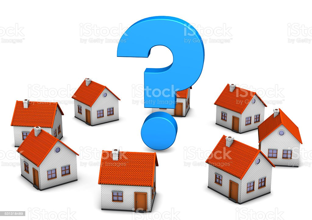 Homes Question Mark stock photo