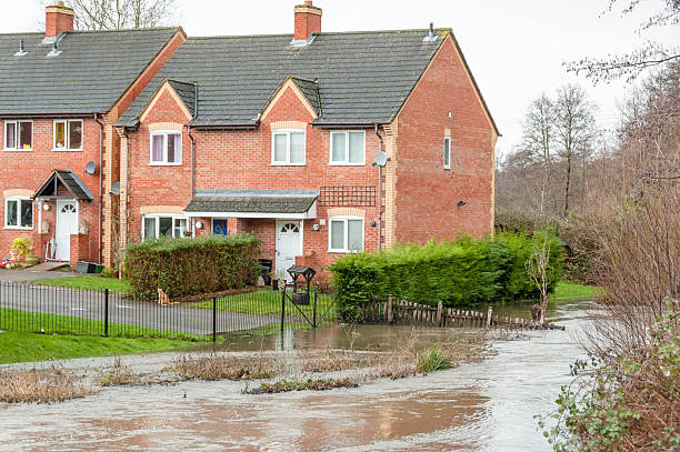 Homes Under Threat Of Flooding In Gloucestershire, United Kingdom stock photo
