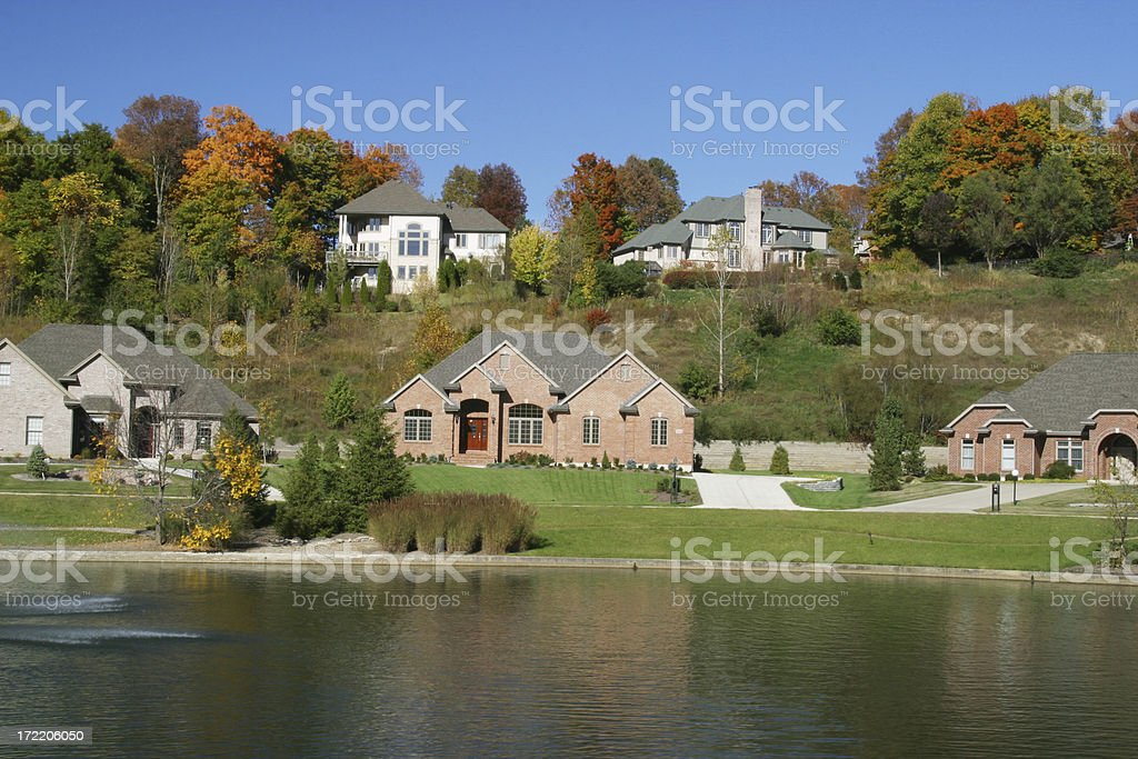 Homes with Pond royalty-free stock photo